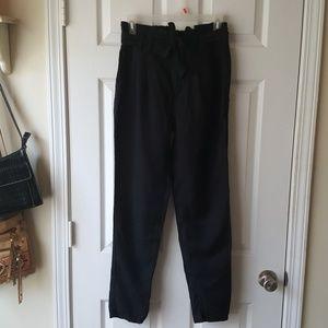 Black paper bag high waist tie waist pants